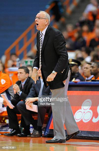 Head coach Jim Boeheim of the Syracuse Orange reacts to a call against the Indiana Hoosiers during the first half at the Carrier Dome on December 3...