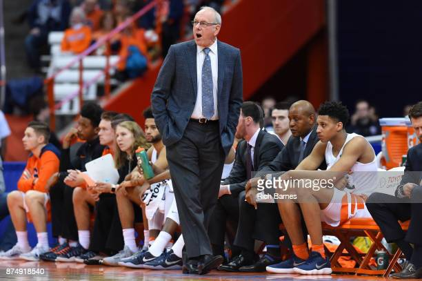 Head coach Jim Boeheim of the Syracuse Orange reacts to a call against the Iona Gaels during the first half at the Carrier Dome on November 14 2017...