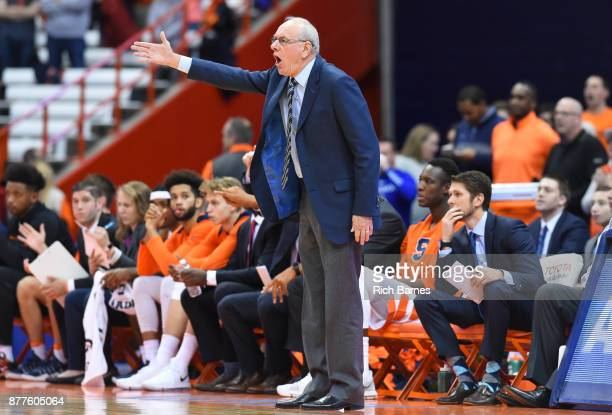 Head coach Jim Boeheim of the Syracuse Orange reacts to a call against the Toledo Rockets during the first half at the Carrier Dome on November 22...