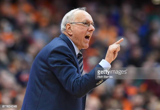 Head coach Jim Boeheim of the Syracuse Orange reacts to a call against the Toledo Rockets during the second half at the Carrier Dome on November 22...