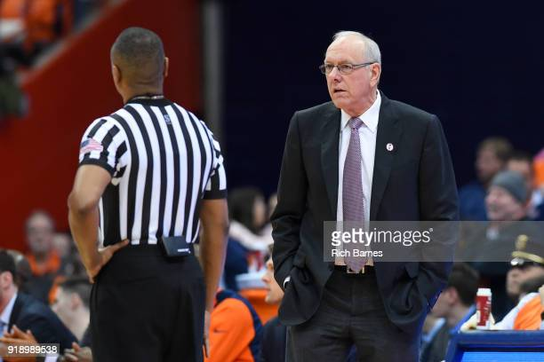 Head coach Jim Boeheim of the Syracuse Orange reacts to a call against the North Carolina State Wolfpack during the first half at the Carrier Dome on...