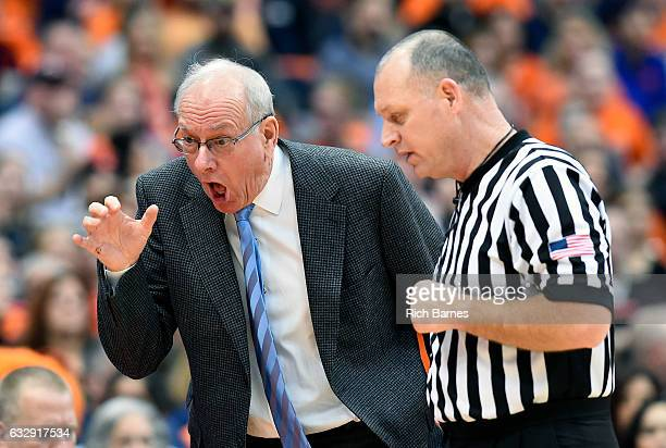 Head coach Jim Boeheim of the Syracuse Orange reacts to a call with an official against the Florida State Seminoles during the first half at the...