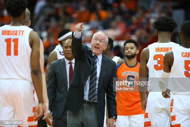 Head coach Jim Boeheim of the Syracuse Orange reacts to a play during a timeout in the first half against the Eastern Washington Eagles at the...