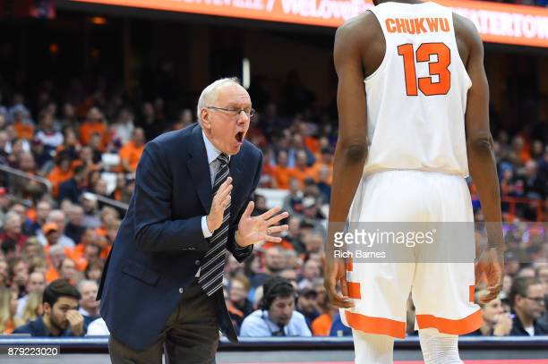 Head coach Jim Boeheim of the Syracuse Orange reacts to a play in the direction of Paschal Chukwu against the Toledo Rockets during the second half...