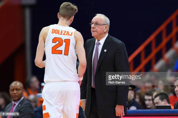 Head coach Jim Boeheim of the Syracuse Orange reacts to a play in the direction of Marek Dolezaj against the North Carolina State Wolfpack during the...