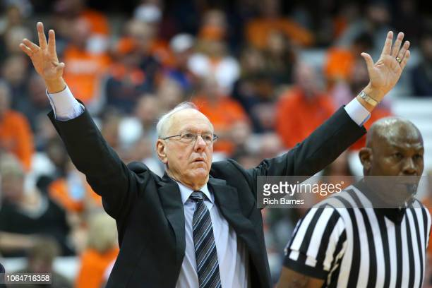 Head coach Jim Boeheim of the Syracuse Orange reacts to a play against the Eastern Washington Eagles during the second half at the Carrier Dome on...