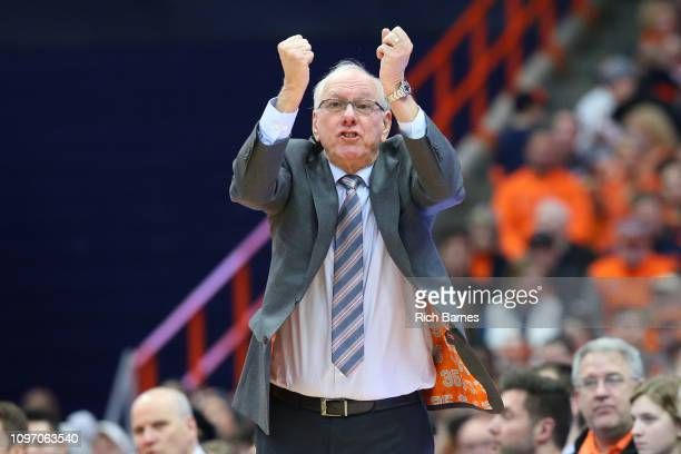 Head coach Jim Boeheim of the Syracuse Orange reacts to a play against the Pittsburgh Panthers during the second half at the Carrier Dome on January...