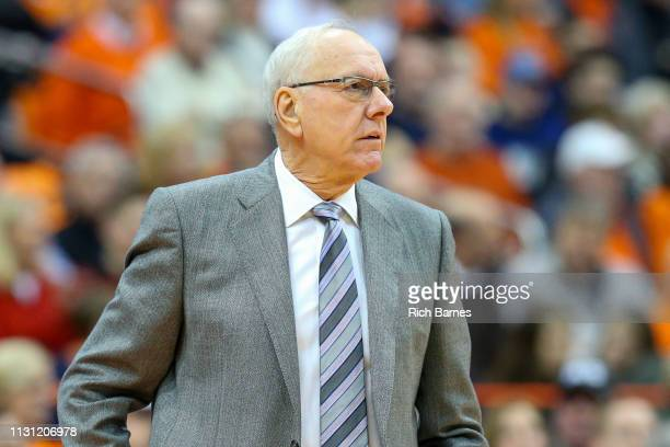 Head coach Jim Boeheim of the Syracuse Orange reacts to a play against the Louisville Cardinals during the first half at the Carrier Dome on February...