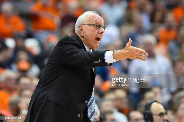 Head coach Jim Boeheim of the Syracuse Orange reacts to a play against the Virginia Cavaliers during the first half at the Carrier Dome on November 6...
