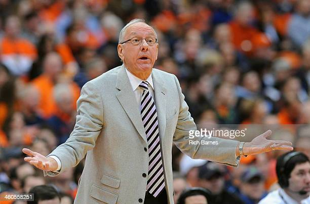Head coach Jim Boeheim of the Syracuse Orange reacts to a play against the Miami Hurricanes during the first half at the Carrier Dome on January 4...