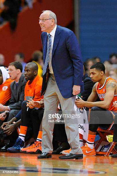 Head coach Jim Boeheim of the Syracuse Orange reacts to a play against the Boston College Eagles during the second half at the Carrier Dome on...