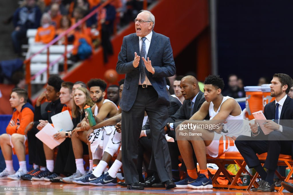 Head coach Jim Boeheim of the Syracuse Orange reacts to a play against the Iona Gaels during the first half at the Carrier Dome on November 14, 2017 in Syracuse, New York.
