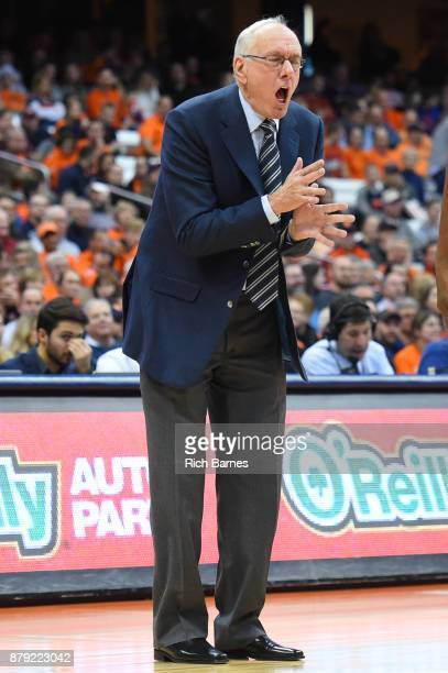 Head coach Jim Boeheim of the Syracuse Orange reacts to a play against the Toledo Rockets during the second half at the Carrier Dome on November 22...