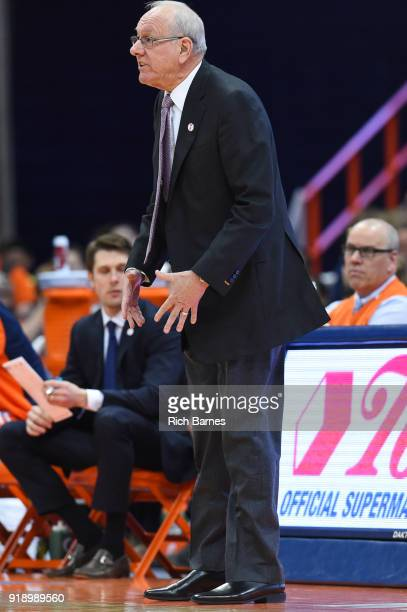 Head coach Jim Boeheim of the Syracuse Orange reacts to a play against the North Carolina State Wolfpack during the first half at the Carrier Dome on...