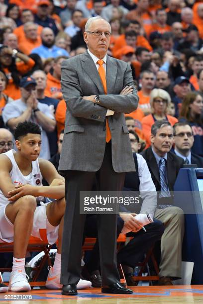 Head coach Jim Boeheim of the Syracuse Orange reacts to a play against the North Carolina Tar Heels at the Carrier Dome on February 21 2018 in...