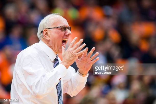 Head coach Jim Boeheim of the Syracuse Orange reacts to game action during the second half against the Colgate Raiders at the Carrier Dome on...