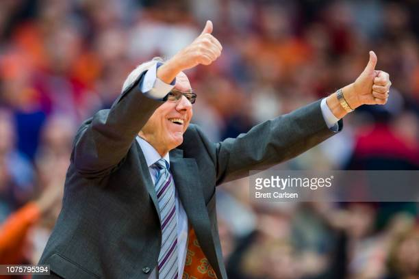 Head coach Jim Boeheim of the Syracuse Orange reacts to game action during the first half against the St Bonaventure Bonnies at the Carrier Dome on...
