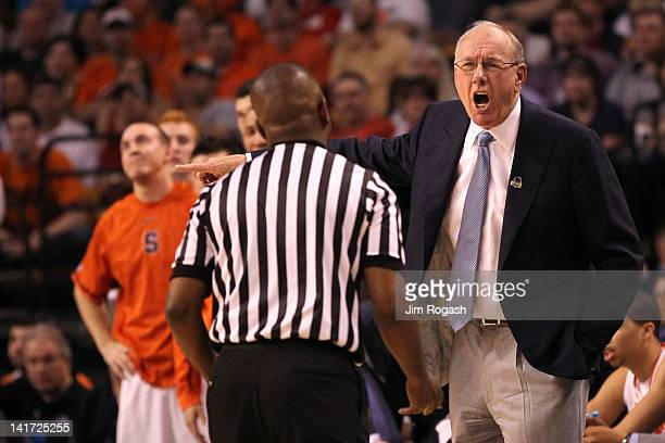 Head coach Jim Boeheim of the Syracuse Orange reacts to the referee after a call while playing against the Wisconsin Badgers during their 2012 NCAA...