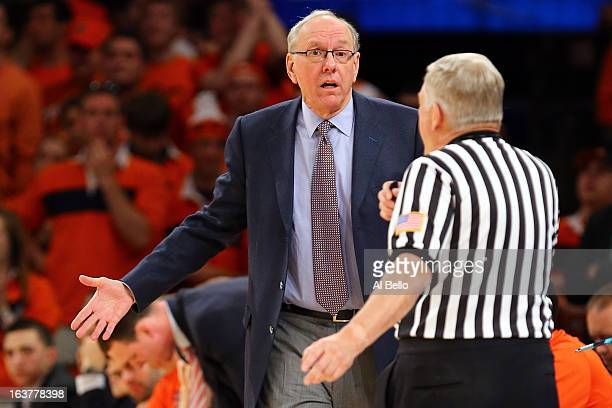 Head coach Jim Boeheim of the Syracuse Orange reacts towards a referee in the first half against the Georgetown Hoyas during the semifinals of the...