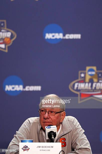 Head coach Jim Boeheim of the Syracuse Orange speaks during a press conference prior to the 2016 NCAA Men's Final Four at NRG Stadium on March 31...