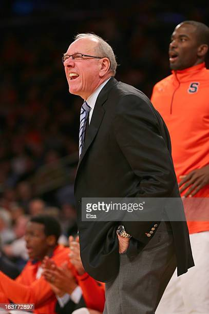Head coach Jim Boeheim of the Syracuse Orange speaks from the sideline against the Seton Hall Pirates during the second round of the Big East...