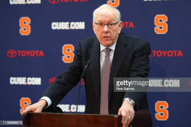 Head coach Jim Boeheim of the Syracuse Orange speaks with the media following the game against the Duke Blue Devils at the Carrier Dome on February...
