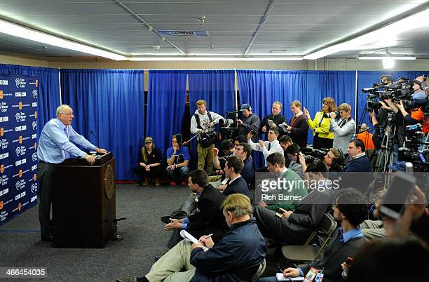 Head coach Jim Boeheim of the Syracuse Orange speaks with the media following the game against the Duke Blue Devils at the Carrier Dome on February 1...