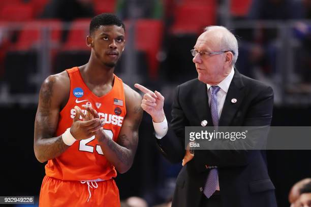 Head coach Jim Boeheim of the Syracuse Orange talks with Frank Howard during the second half against the TCU Horned Frogs in the first round of the...