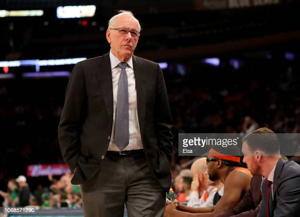 Head coach Jim Boeheim of the Syracuse Orange walks in front of his bench in the second half against the Oregon Ducks during the 2K Empire Classic at...