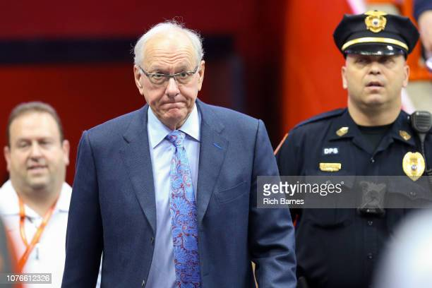 Head coach Jim Boeheim of the Syracuse Orange walks to the court prior to the game against the Cornell Big Red at the Carrier Dome on December 1 2018...