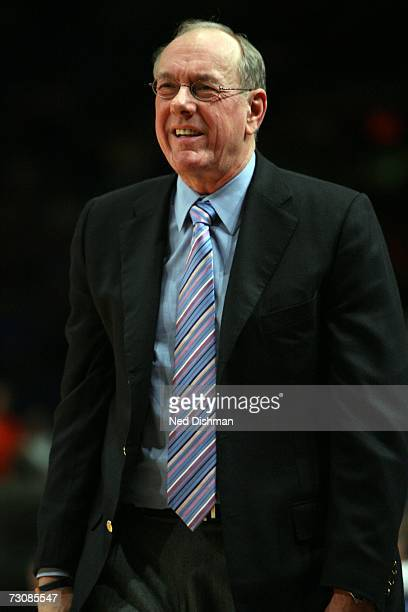 Head coach Jim Boeheim of the Syracuse University Orange reacts to a call by the bench against the St. John's University Red Storm at Madison Square...
