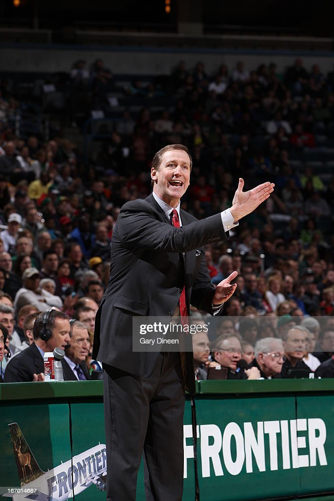 Head Coach Jim Boylan of the Milwaukee Bucks reacts to a call against the Portland Trail Blazers on March 19, 2013 at the BMO Harris Bradley Center in Milwaukee, Wisconsin.