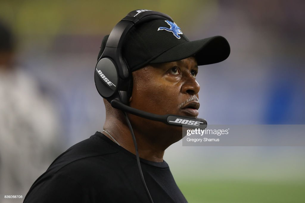 Head coach Jim Caldwell looks on from the sideline during a preseason game against the New England Patriots at Ford Field on August 25, 2017 in Detroit, Michigan.