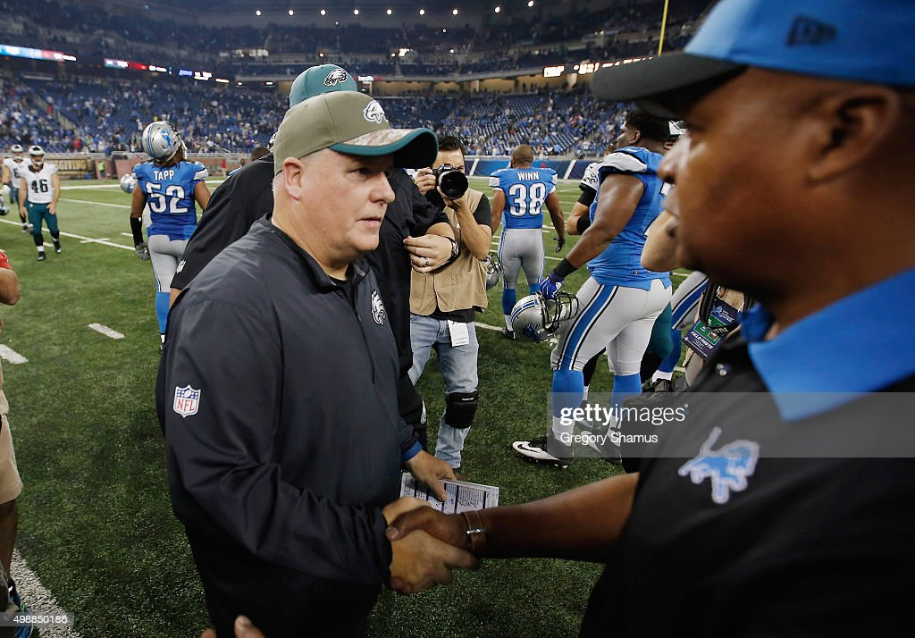 head coach Jim Caldwell of the Detroit Lions and head coach Chip Kelly of the Philadelphia Eagles shake hands the after the game at Ford Field on November 26, 2015 in Detroit, Michigan. The Detroit Lions defeat the Philadelphia Eagles 45-14.