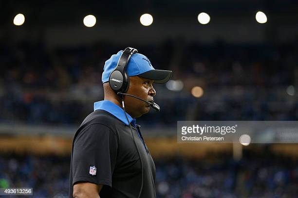 Head coach Jim Caldwell of the Detroit Lions during the NFL game against the Chicago Bears at Ford Field on October 18 2015 in Detroit Michigan The...