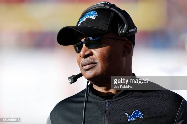 Head coach Jim Caldwell of the Detroit Lions looks on against the Tampa Bay Buccaneers in the third quarter of a game at Raymond James Stadium on...