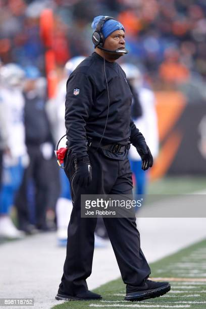 Head coach Jim Caldwell of the Detroit Lions looks on against the Cincinnati Bengals during the second half at Paul Brown Stadium on December 24,...