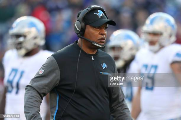 Head Coach Jim Caldwell of the Detroit Lions looks on from the side lines in the third quarter against the Baltimore Ravens at MT Bank Stadium on...