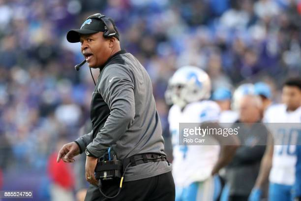 Head Coach Jim Caldwell of the Detroit Lions looks on from the side lines in the third quarter against the Baltimore Ravens at M&T Bank Stadium on...