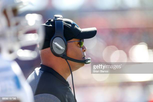 Head coach Jim Caldwell of the Detroit Lions looks on from the sidelines during the second quarter of an NFL football game against the Tampa Bay...