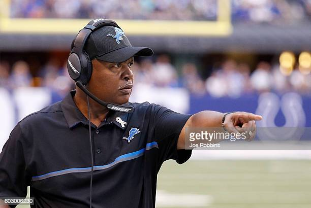 Head coach Jim Caldwell of the Detroit Lions points to a player during the third quarter of the game between the Indianapolis Colts and the Detroit...