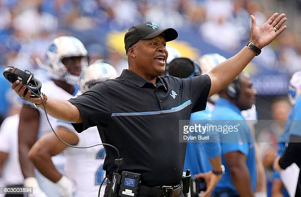 Head coach Jim Caldwell of the Detroit Lions reacts on the side lines during the second quarter of the game between the Detroit Lions and the...