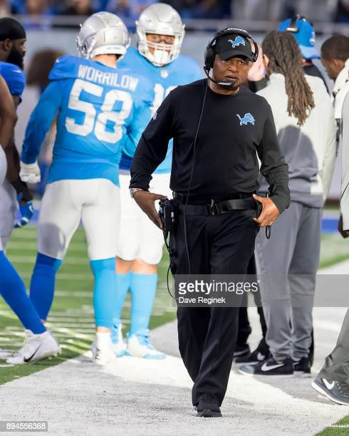 Head coach Jim Caldwell of the Detroit Lions walks on the side lines in the second half against the Minnesota Vikings during an NFL game at Ford...