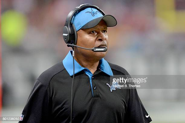 Head coach Jim Caldwell of the Detroit Lions watches from the sideline in the third quarter against the St Louis Rams at the Edward Jones Dome on...