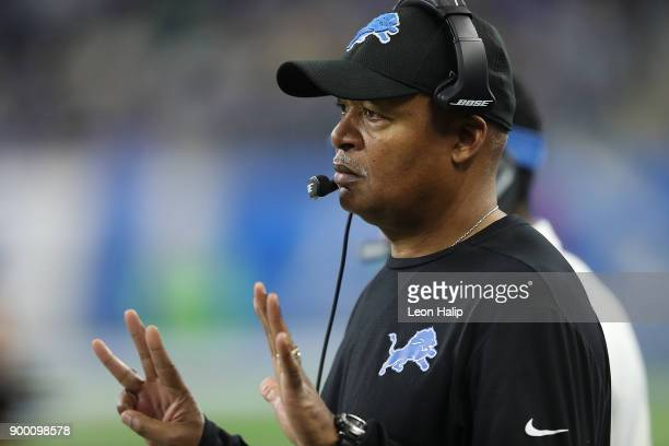Head coach Jim Caldwell of the Detroit Lions watches his team against the Green Bay Packers during the first half at Ford Field on December 31 2017...