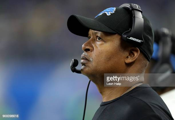 Head coach Jim Caldwell of the Detroit Lions watches his team against the Green Bay Packers during the first half at Ford Field on December 31, 2017...