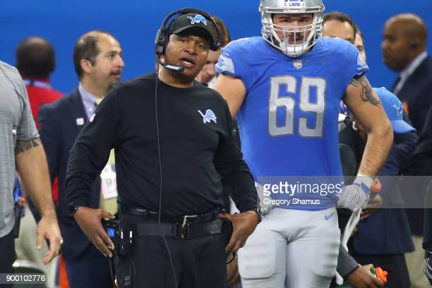Head coach Jim Caldwell of the Detroit Lions watches his team against the Green Bay Packers during the first half at Little Caesars Arena on December...