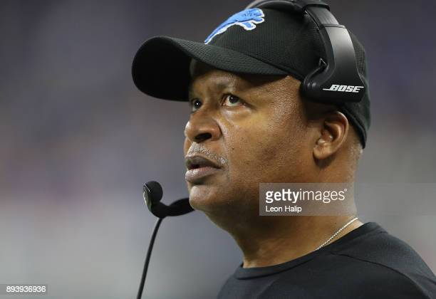 Head coach Jim Caldwell of the Detroit Lions watches his team during the first half against the Chicago Bears at Ford Field on December 16, 2017 in...