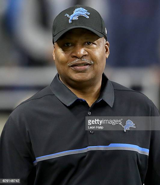 Head coach Jim Caldwell of the Detroit Lions watches his team on the field prior to the start of the game against the Chicago Bears at Ford Field on...