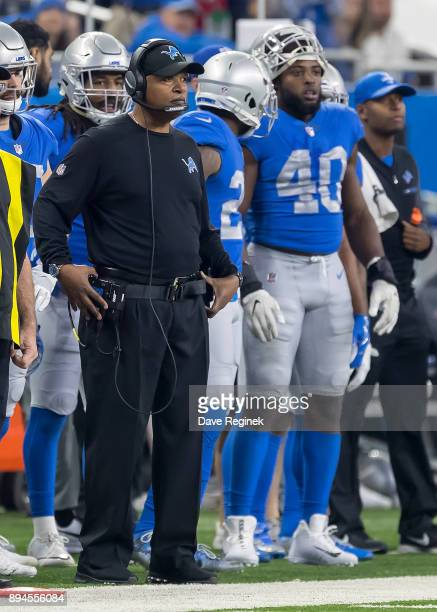 Head coach Jim Caldwell of the Detroit Lions watches the action from the sidelines in the second half against the Minnesota Vikings during an NFL...